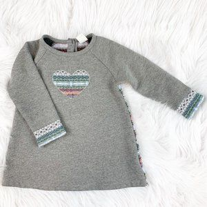 Tucker & Tate Knit Embroidered Sweater Dress Grey